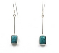 Sterling Silver Rectangle Earrings With Moonstone or Turquoise