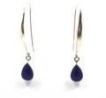 Sterling Silver Long Teardrop Earrings with Amethyst or Lapiz Lazuli