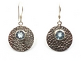 Hammered Sterling Silver Earrings with Amethyst, Turquoise or Blue Topaz